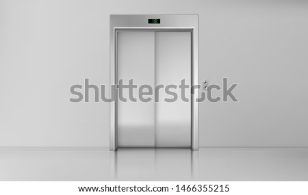 Elevator doors, close lift cabin entrance with chrome metal buttons panel, empty building white hallway interior, office vestibule, hotel or dwelling lobby Realistic 3d vector Illustration