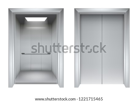 Elevator doors. Closing and opening lift metallic in office building vector realistic 3d pictures. Illustration of lift door and elevator for office or hotel