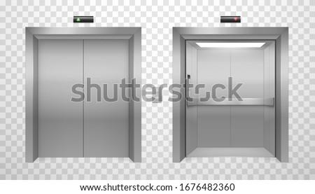 Elevator doors set, realistic shiny metal design. Automatic lift doors with locking device for transportation. Vector 3D elevators illustration