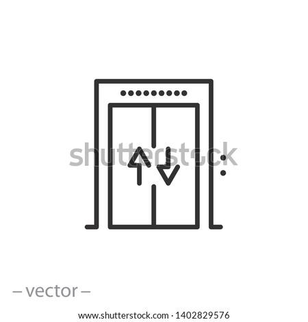 elevator icon, lift line symbol on white background - editable stroke vector illustration eps10