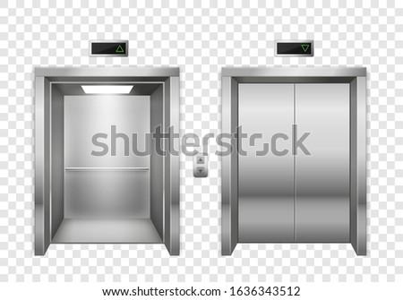 Elevator. Open and closed chrome metal elevator doors, modern passenger or cargo lift, lobby design inside building, contemporary indoor realistic doorway vector mockup