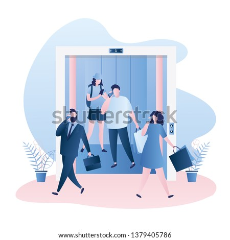Elevator or lift with open doors,Different people in the elevator and around,business and shopping characters,trendy style vector illustration
