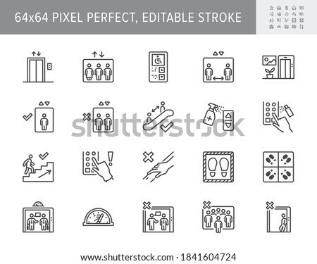 Elevator pitch line icons. Vector illustration, keep social distance icon, disinfect lift button, avoid touching handrail outline pictogram coronavirus prevention. 64x64 Pixel Perfect Editable Stroke. Foto stock ©