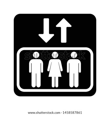 elevator public sign icon isolated back