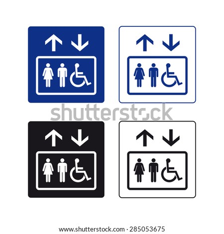Elevator up down man woman handicapped sign vector set