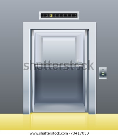 elevator with opened door vector illustration