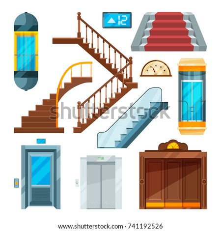 elevators and stairs in