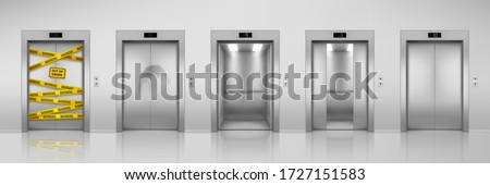 Elevators, vector realistic design with closed, open, half closed and dent broken doors. Chrome metal office building elevator or lift doors with out of order warning sign and yellow caution tape