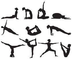 Eleven famous silhouettes of yoga positions on white background