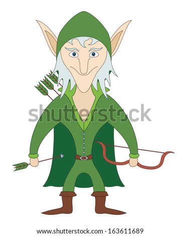 Elf Archer Standing With Bow And Arrows And Smiling, Funny Comic ...