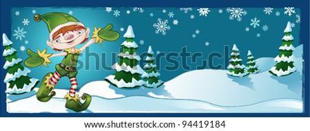 elf banner winter landscape