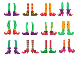 Elf feet. Christmas elf feet wearing pants and boots isolated vector icon set on white background. Leprechaun or magic Santa Claus helper dwarf holiday character leg in stocking and shoes illustration