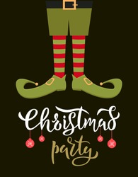 Elf feet flat colourful vector illustration with typography. Christmas dwarf leg in funny boots on black background. Leprechaun shoes and striped socks. Festive christmas gnome postcard with lettering