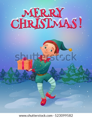 elf holding christmas gift