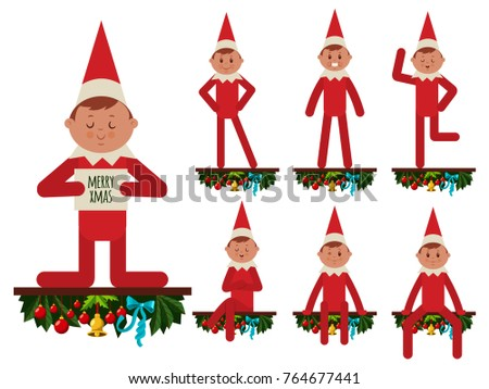 Elf is sitting on a wooden shelf with Christmas decorations. Santa helper in different poses and emotions. Vector cartoon flat character of a gnome isolated on white background.
