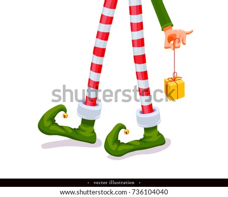 Elf's legs and Elf's hand with a gift. Funny assistant to Santa Claus. Creative Christmas composition. Humorous xmas collection. Festive background. Vector illustration. Isolated on white background