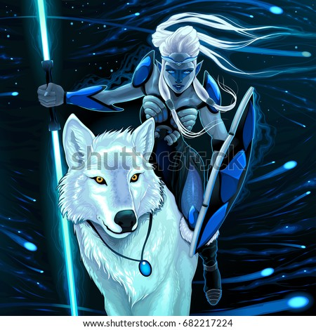 elf with white wolf vector
