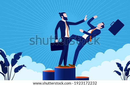 Eliminate competition - Businessman pushing man of podium to claim the top spot. Business rivalry and competitor concept. Vector illustration. Stock photo ©