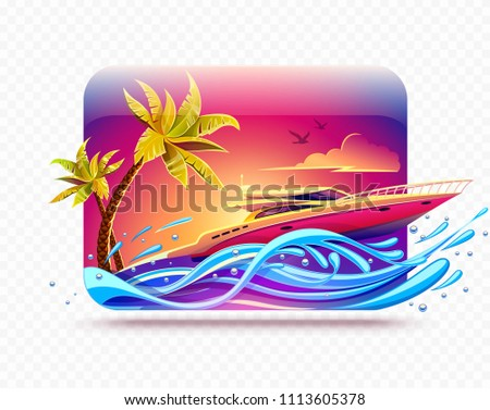 Elite luxury rest on yacht among tropical palms at hot islands in sea or ocean. High-speed motorboat race by waves at evening sunset sky background. Banner for travel. EPS10.