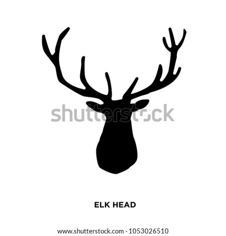 elk head silhouette on white background,in black