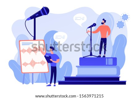 Elocution lesson. Speech improvement. Recording studio. Voice and speech training, voice projection techniques, improve your spoken skills concept. Pinkish coral bluevector vector isolated