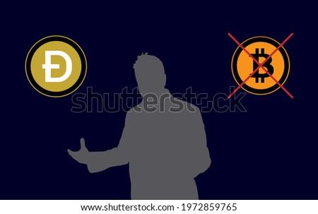 Elon Musk Bitcoin and Dogecoin, Bitcoin, Dogecoin . Vector