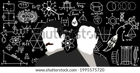 elon musk end nikola tesla, Silhouette of two great scientists against the background of scientific formulas