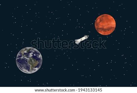 Elon Musk spacecraft, SpaceX Concept A spacecraft in Earth orbit. SpaceX Elon Musk Mars Vector