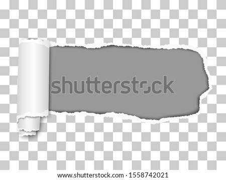 Elongated vector torn hole from right to left in transparent sheet of paper with soft shadow, paper curl and dark gray background in the hole. Paper template.