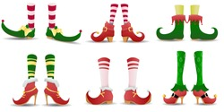 Elven legs elves shoes hat christmas dwarf pants legs with santa gifts isolated set. Shoes for elves feet, Santa Claus helpers. Christmas gnome legs in funny shoes. Vector illustration