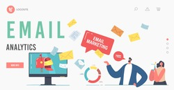 Email Analytics Landing Page Template. E-mail Marketing. Business Characters Stand at Huge Computer Desktop with Email Message Envelopes Flying Out of Screen. Cartoon People Vector Illustration