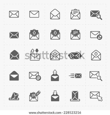 Email and envelope icons on White Background