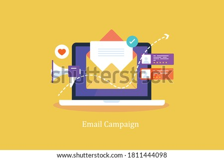 Email campaign strategy, Email marketing concept, email subscription - flat design vector banner with icons on isolated background