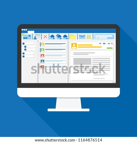 Email client software on Computer screen flat icon. business concept. office things for planning and accounting, analysis, audit, project management, marketing, research vector illustration