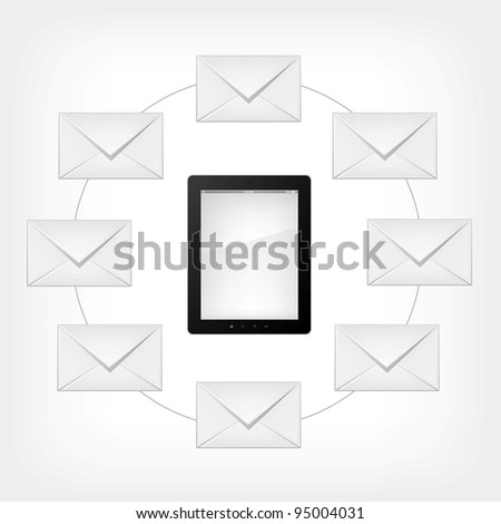 Email Concept. Tablet PC on Grey Gradient Background. Vector.