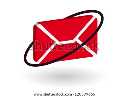 Email 3d concept red icon