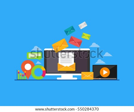 Email. Email marketing. E-mail mutimedia message concept. Modern flat design for Web Banner , Website Element , or Web Template