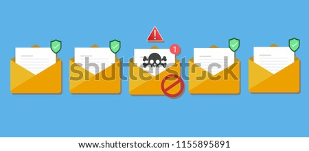 Email / envelope with black document and skull icon. Virus, malware, email fraud, e-mail spam, phishing scam, hacker attack concept. Trendy flat design graphic with long shadow. Vector illustration Сток-фото ©