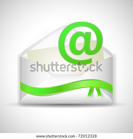 Email envelope wiyh green ribbon