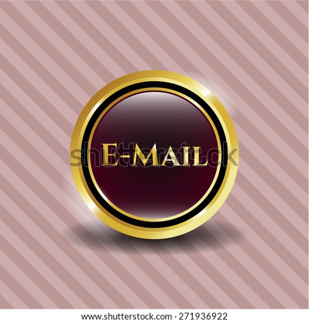 Email gold shiny medal with pink background