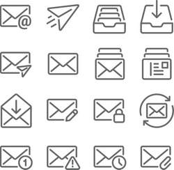 Email icon illustration vector set. Contains such icon as Inbox, Sent, Attached, Privacy, Edit, Read, Unread and more. Expanded Stroke