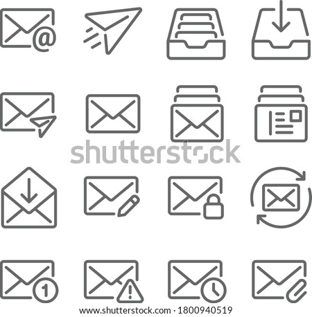 Email icon illustration vector set. Contains such icon as Inbox, Sent, Attached, Privacy, Edit, Read, Unread and more. Expanded Stroke Сток-фото ©
