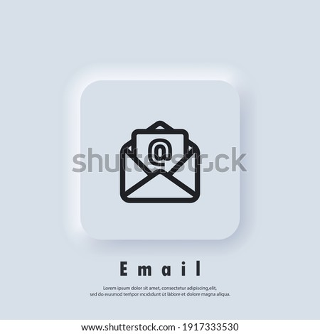 Email Icon. Open envelope. Newsletter logo. Email and messaging icons. Email marketing campaign. Vector EPS 10. UI icon. Neumorphic UI UX white user interface web button. Neumorphism