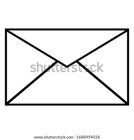 Email icon. Outline envelope sign isolated on the white background. Mail Line Icon. Vector Illustration of Outline Web Symbol.Black isolated outline icon of postal envelope on white background.