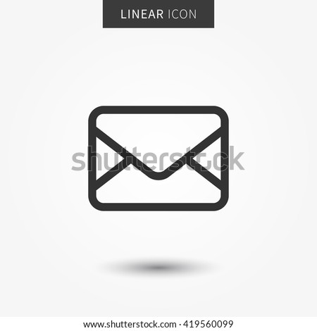 Email icon vector illustration. Isolated web mail symbol. Envelope line concept. Email message graphic design. Mail outline symbol for app. Envelope pictogram on grey background.