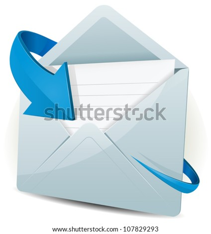 Email Icon With Blue Arrow/ Illustration of an email reception icon envelope with blue arrow orbiting around, for contact us and feedback symbols