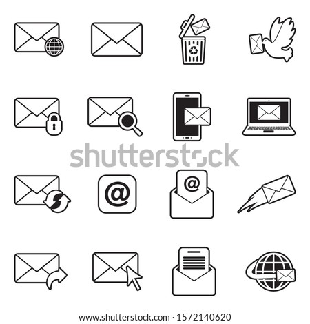 Email Icons. Line With Fill Design. Vector Illustration.