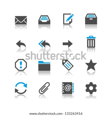 Email icons reflection theme