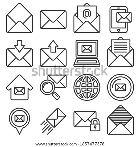 Email Icons Set on White Background. Line Style Vector
