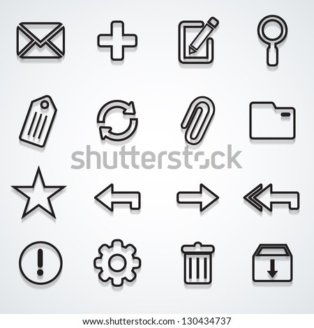 Email icons set outline - stock vector
